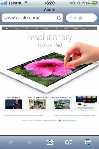apple webpage on iPhone
