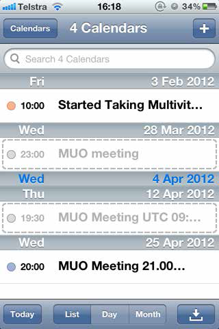 day view ios calender