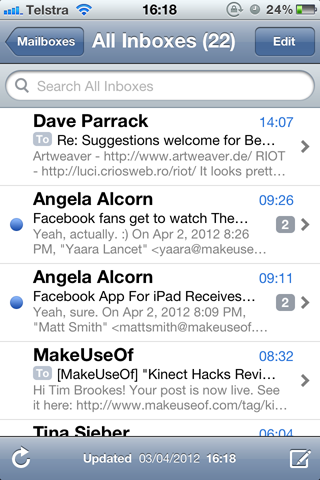 email in box in ios