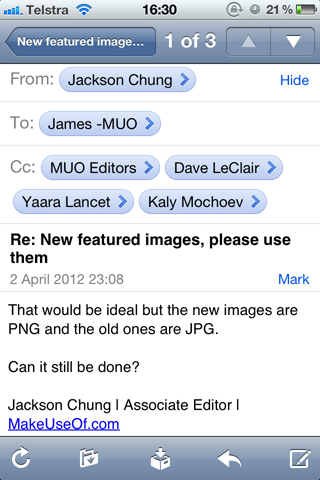 new email in ios iphone
